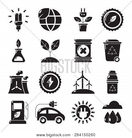 Ecology Icons Set. Simple Illustration Of 16 Ecology Icons For Web