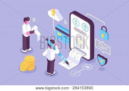 Bills Online Payment Via Mobile Application Vector