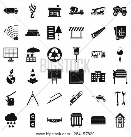 Construction Place Icons Set. Simple Style Of 36 Construction Place Icons For Web Isolated On White
