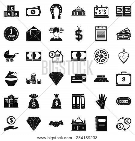 Deposit Account Icons Set. Simple Style Of 36 Deposit Account Icons For Web Isolated On White Backgr