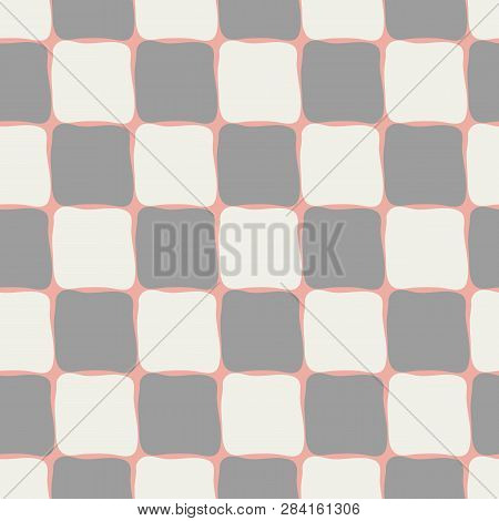 Neutral Pastel Browns And Cream Coloured Checkerboard Seamless Vector Pattern On Pastel Coral Backgr