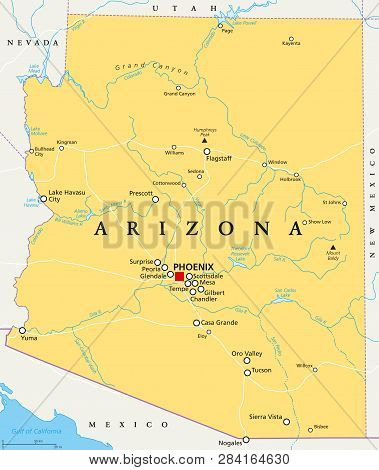 Arizona Political Map With Capital Phoenix, Important Cities, Rivers, Lakes. State In Southwestern R