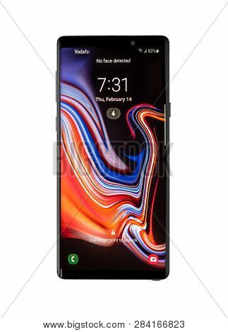 Ukraine, Uzhgorod - February, 14, 2019: Studio Shot Of Samsung Galaxy Note 9 Smartphone On A White B