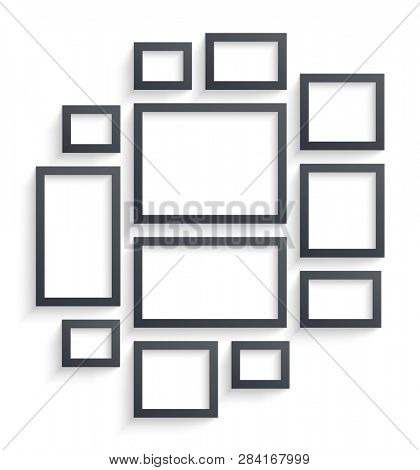 Wall picture frame templates isolated on white background. Blank photo frames with shadow and borders and shadow  illustration. Empty frame for photo or image picture in museum