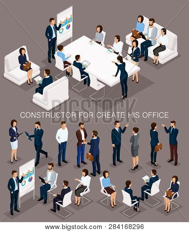 Business People Isometric Set To Create His Illustrations Of The Meeting And Brainstorming With Men