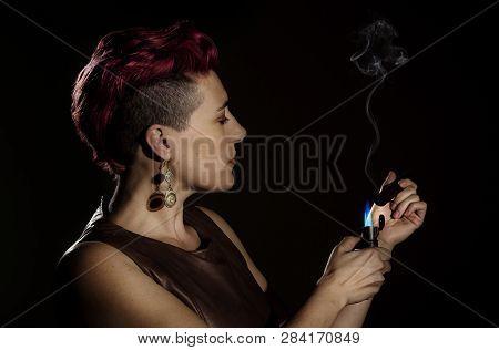 Modern Woman With Fuchsia Hair And A Cigar