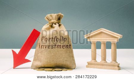 Money Bag With The Word Portfolio Investment And A Down Arrow Near The Bank. The Outflow Of Deposits