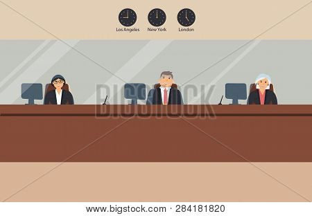 Bank Office:bank Employees Sit Behind A Barrier With Glass And Ready To Serve Bank Customers. Elegan