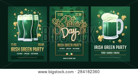 Set Of Festive Posters With Symbols Of  Irish Holiday On A Green Background. Three Beer Glasses With