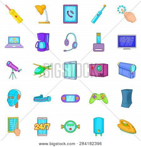 Gadget Icons Set. Cartoon Set Of 25 Gadget Icons For Web Isolated On White Background