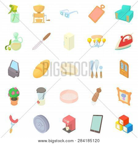 Facilities icons set. Cartoon set of 25 facilities icons for web isolated on white background poster
