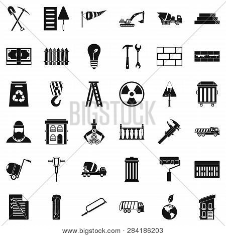 Building Hammer Icons Set. Simple Style Of 36 Building Hammer Icons For Web Isolated On White Backgr