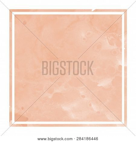 Orange Hand Drawn Watercolor Rectangular Frame Background Texture With Stains