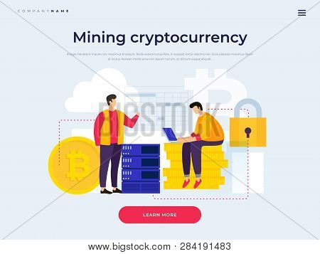 Landing Page Template. Concept Of Cryptocurrency Production. Young People Mining Bitcoin And Blockch