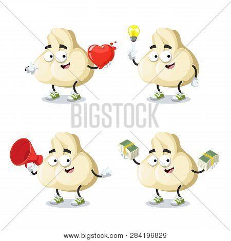 Set Of Cartoon Baozi Dumplings With Meat Character Mascot