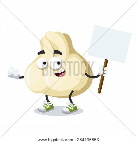 Cartoon Joyful Baozi Dumplings With Meat Mascot With Tablet In Hand