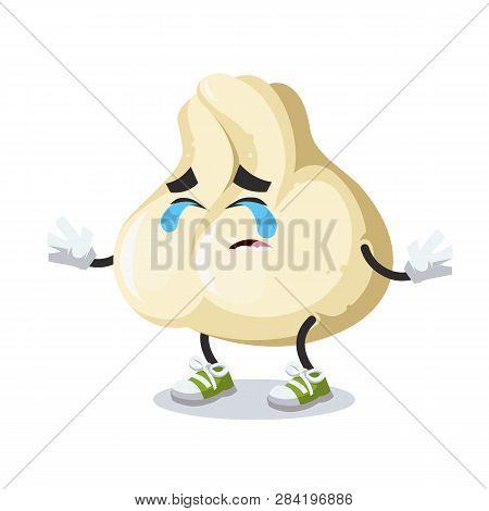 Crying Cartoon Baozi Dumplings With Meat Mascot