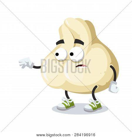 Cartoon Scared Baozi Dumplings With Meat Mascot In Sneakers