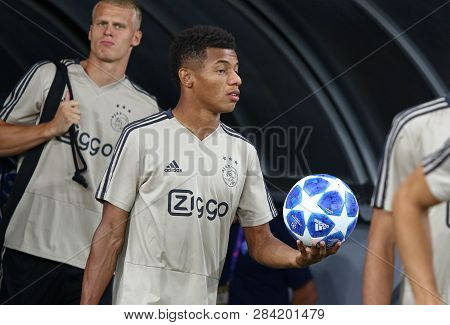 Kyiv, Ukraine - August 28, 2018: David Neres Of Afc Ajax Goes To The Pitch Of Nsc Olimpiyskyi Stadiu