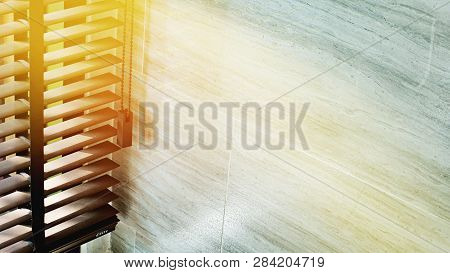 Evening Sun Light Outside Wooden Window Blinds, Sunshine And Shadow On Window Blind And Granite Tile