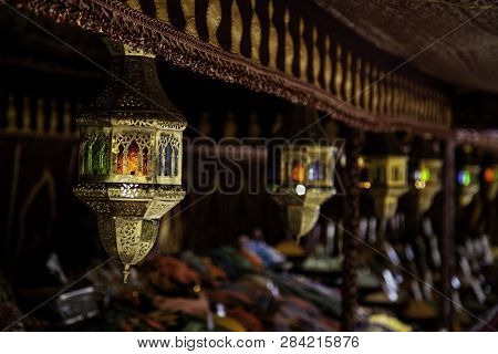 Decorated Arabic Lamps, Detail Of Lighting And Decoration, Art