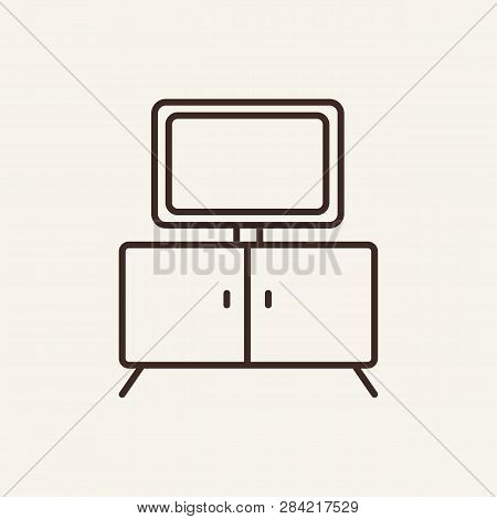 Tv Table Line Icon. Tv And Commode On White Background. Home Interior Concept. Vector Illustration C