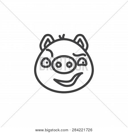 Piggy Sly Face Emoticon Line Icon. Linear Style Sign For Mobile Concept And Web Design. Sassy Face E