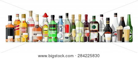 Alcohol Drinks Collection. Bottles With Glasses. Vodka Champagne Wine Whiskey Beer Brandy Tequila Co