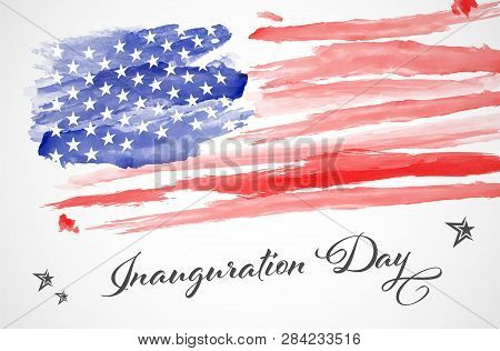 Abstract Watercolor American Flag - Inauguration Day. Vector Illustration.