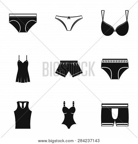 Underclothes Icon Set. Simple Style Set Of 9 Underclothes Icons For Web Isolated On White Background