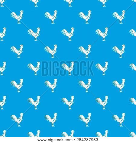 Gallic Rooster Pattern Repeat Seamless In Blue Color For Any Design. Geometric Illustration