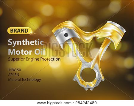 Brand New Synthetic Motor Oil 3d Realistic Vector Advertising Banner With Internal Combustion Engine