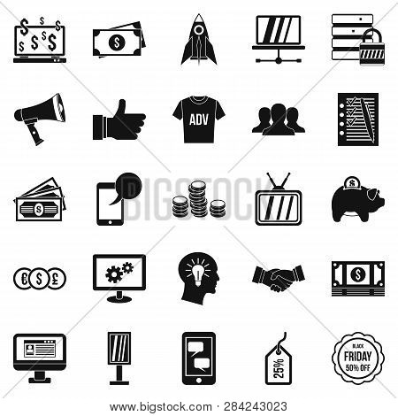 Online Commercial Icons Set. Simple Set Of 25 Online Commercial Icons For Web Isolated On White Back