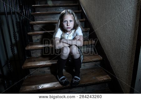 Beautiful Lonely Young Girl Depressed And Worried Suffering From Bullying And Harassment At School