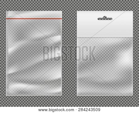 Product Packaging Types 3d Realistic Vector Mockup With Transparent Plastic Packets Or Bags With Res