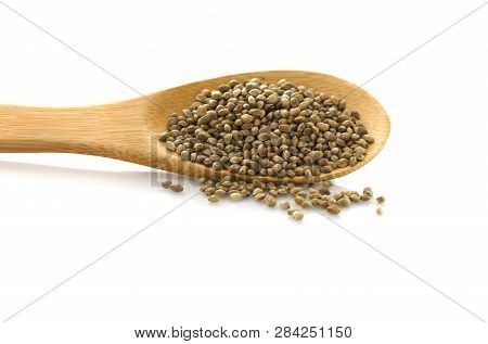 Hemp Seed. Wooden Spoon With Hemp. Food Additive. Isolated On White Background. Cannabis.