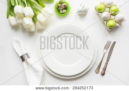 Easter Dinner. Table Setting With White Tulip On Table. Top View.