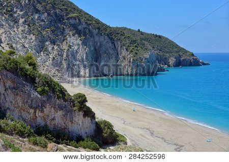 Milos Beach On Lefkada Island, Greece In Summer Time