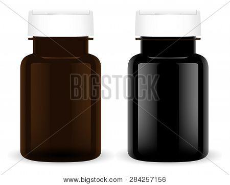 Supplement Pill Bottle. Black Plastic Medical Set. Pharmaceutical Capsule 3d Jar Mockup Template. Ro