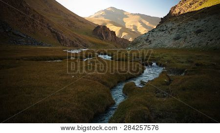 Sunset View To Tash-rabat River And Valley , Naryn Province, Kyrgyzstan