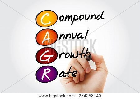 Cagr - Compound Annual Growth Rate Acronym With Marker, Business Concept Background