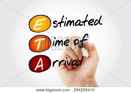 ETA - Estimated Time of Arrival acronym with marker, business concept background poster