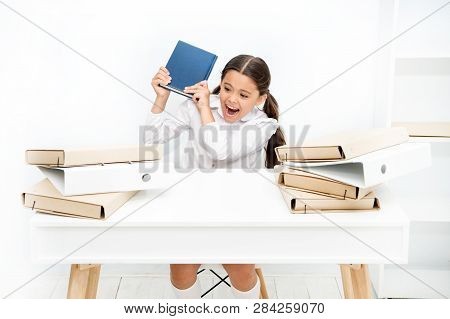 Girl Bored Pupil Sit At Desk With Folders And Books. Issues Of Formal Education. Back To School Conc