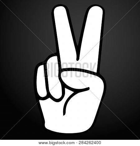 Hand Gesture V Sign For Victory Or Peace Vector Icon For Apps And Websites.