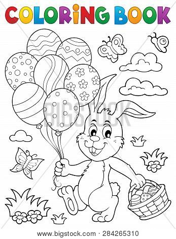 Coloring Book Easter Rabbit Topic 2 - Eps10 Vector Picture Illustration.