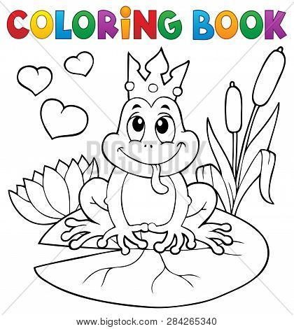 Coloring Book Frog With Crown - Eps10 Vector Picture Illustration.