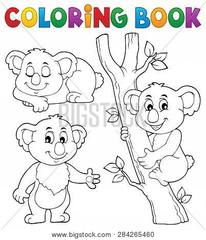 Coloring Book Koala Theme 1 - Eps10 Vector Picture Illustration.