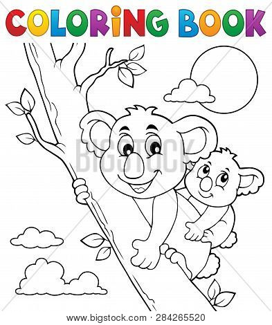 Coloring Book Koala Theme 2 - Eps10 Vector Picture Illustration.