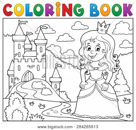 Coloring Book Princess Topic Image 1 - Eps10 Vector Picture Illustration.