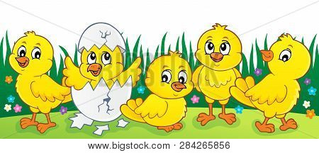 Cute Chickens Topic Image 2 - Eps10 Vector Picture Illustration.